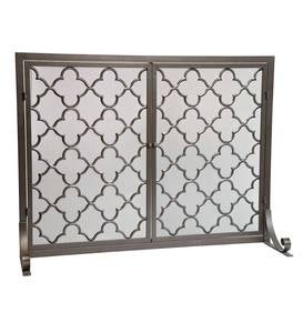 Geometric Fireplace Screen with Two Doors
