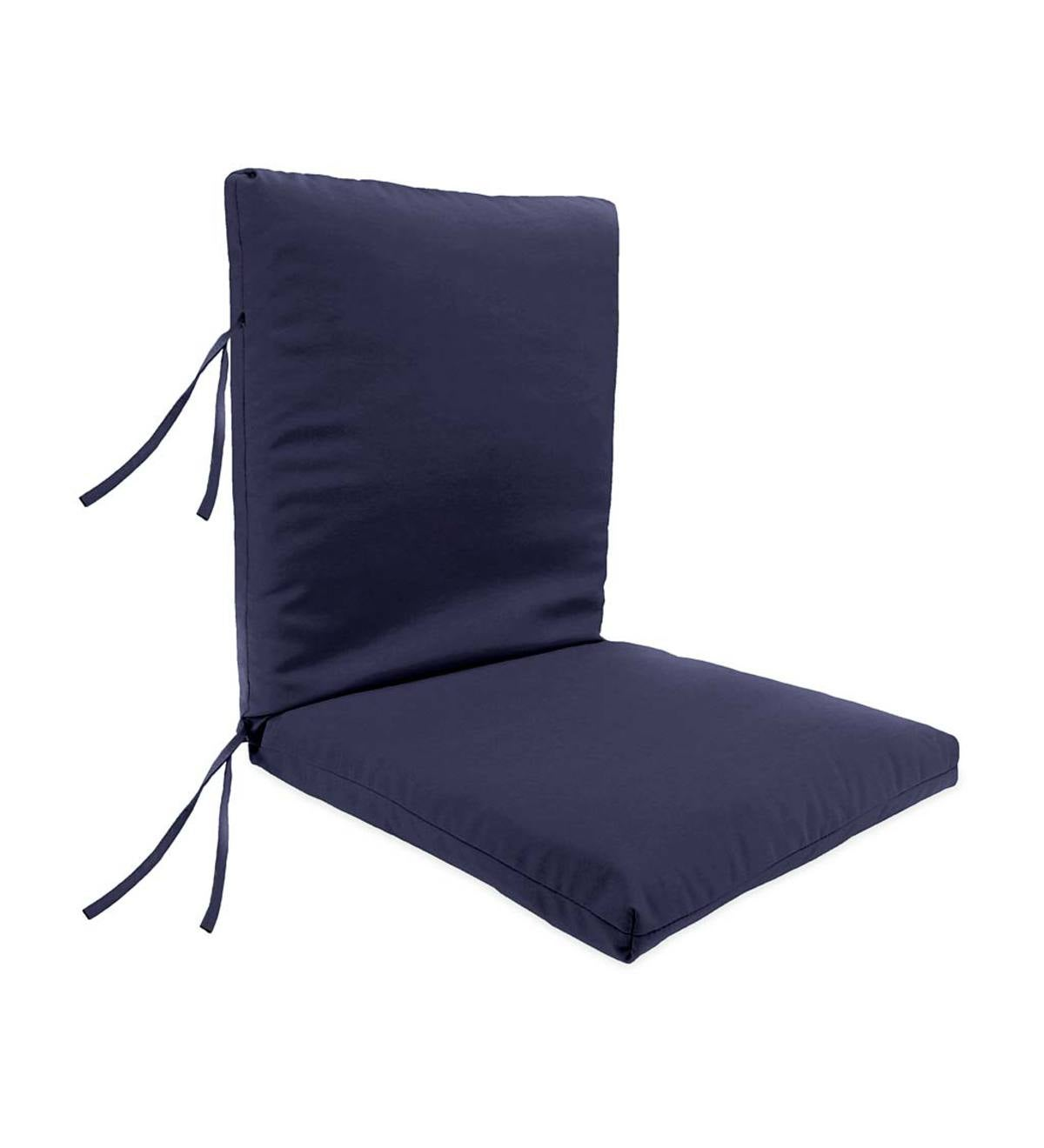 Hinged Outdoor Classic Chair Cushion With Ties - Solid Navy