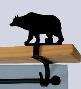 USA-Made Wrought Iron Curtain Shelf Brackets - Bear