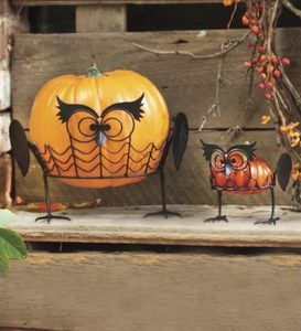 Set Of 2 Owl Pumpkin Holders
