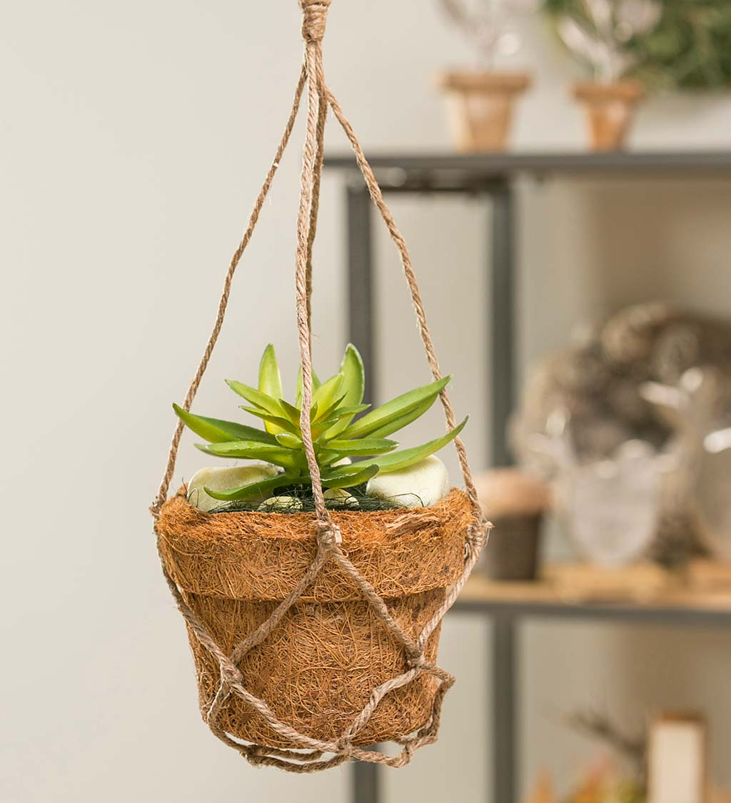 Coir Fiber Pot with Faux Succulents and Rope Hanger