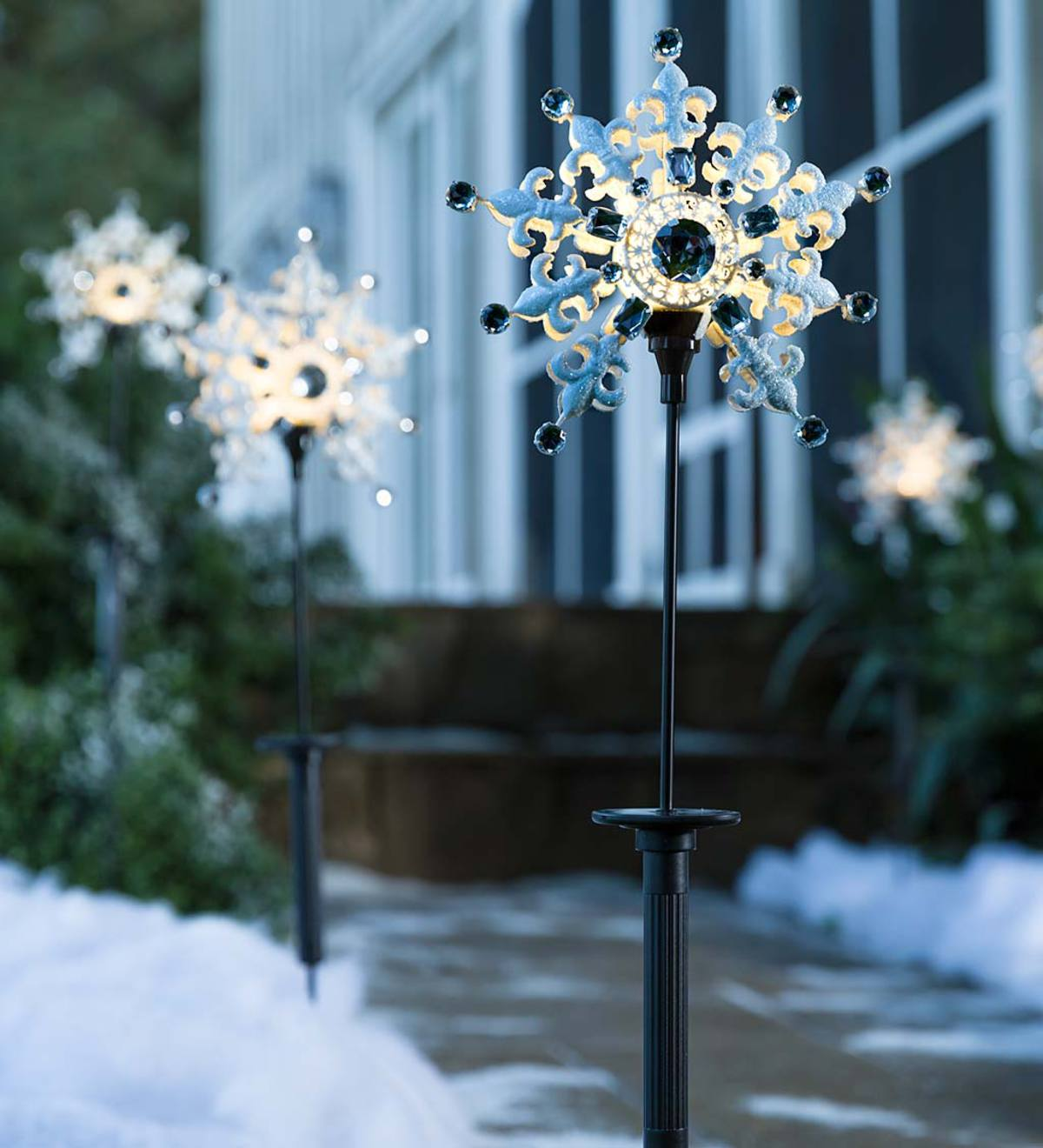 Solar Snowflake Stakes, Set of 2
