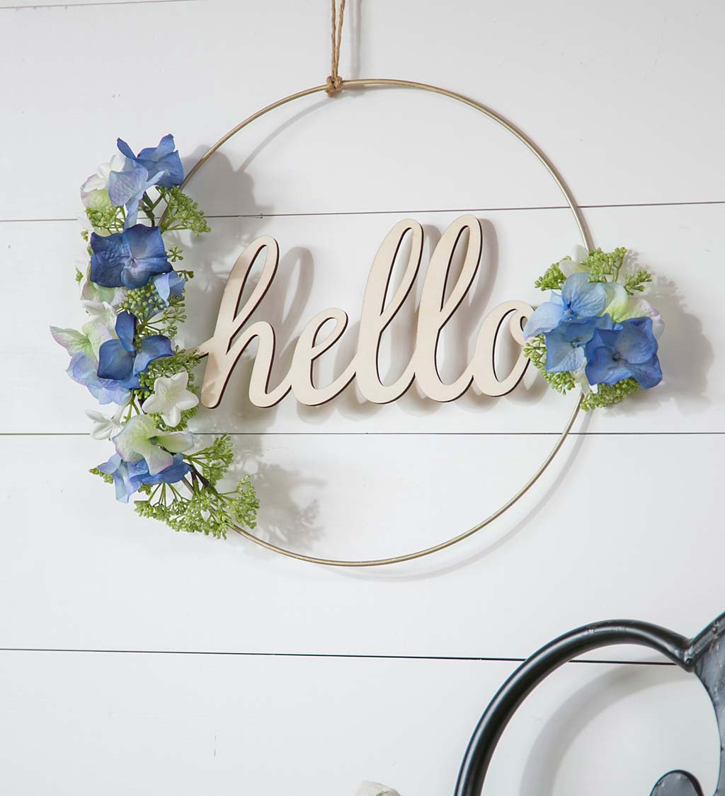 Blue and White Floral Hoop Wall Décor