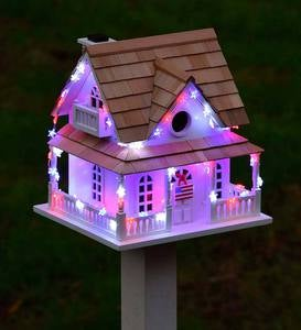 Americana Lighted Birdhouse and Pole