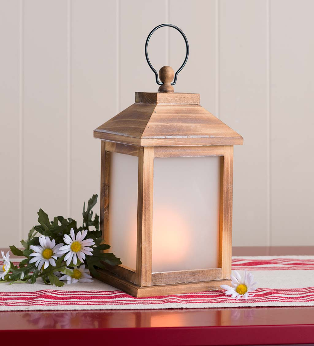 Small Rustic Farmhouse Lantern with Flickering Flame