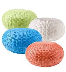 Tangier Wicker Ottoman Pouf, Small