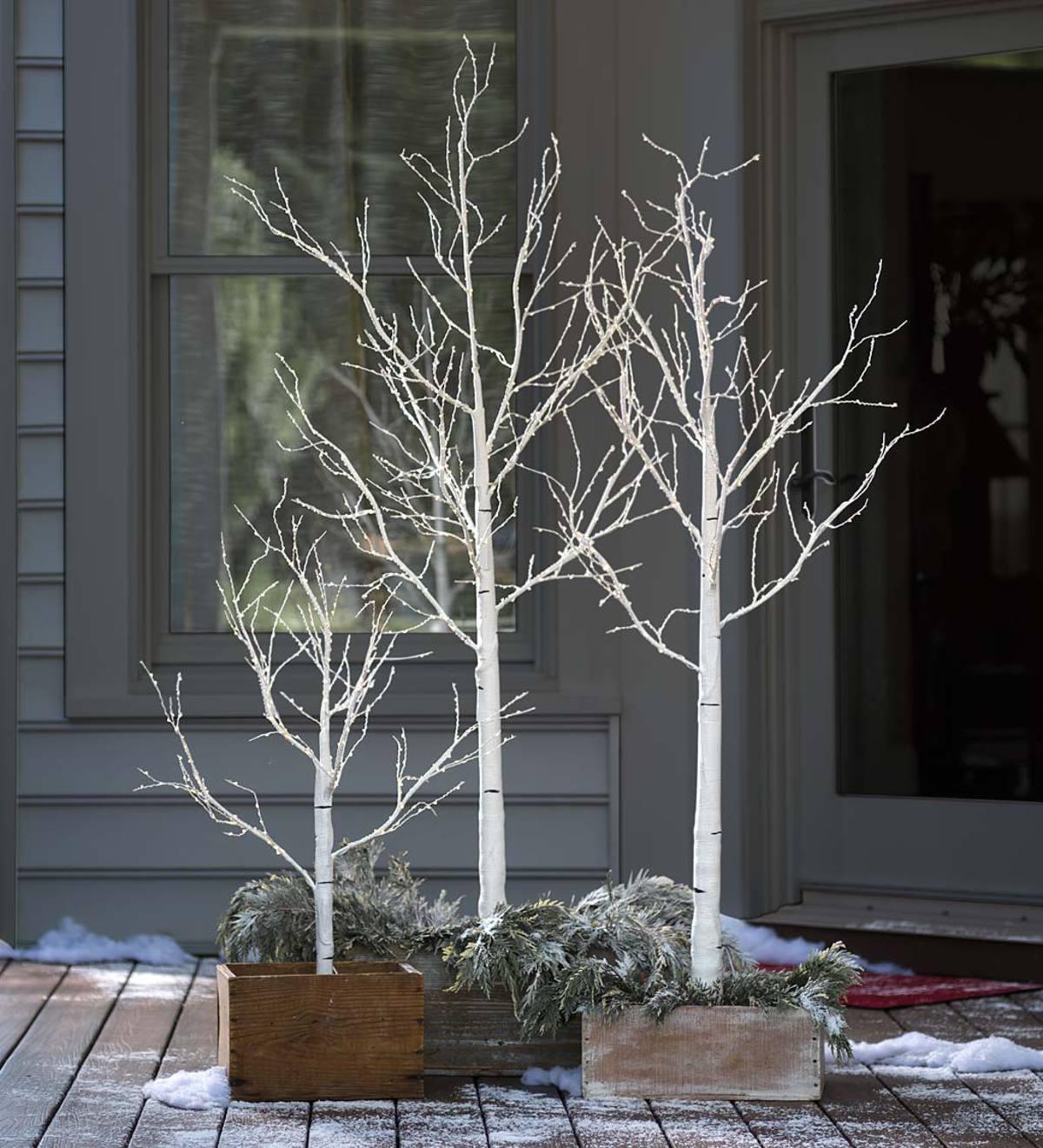 indoor outdoor medium birch tree with 400 micro lights ebay. Black Bedroom Furniture Sets. Home Design Ideas