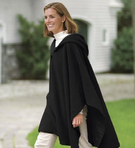 Water-Repellent Reversible Fleece And Nylon Microfiber Cape With Hood - Black/Black