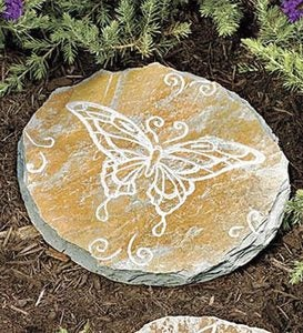 Flyers And Ferns Natural Slate Etched Stepping Stones