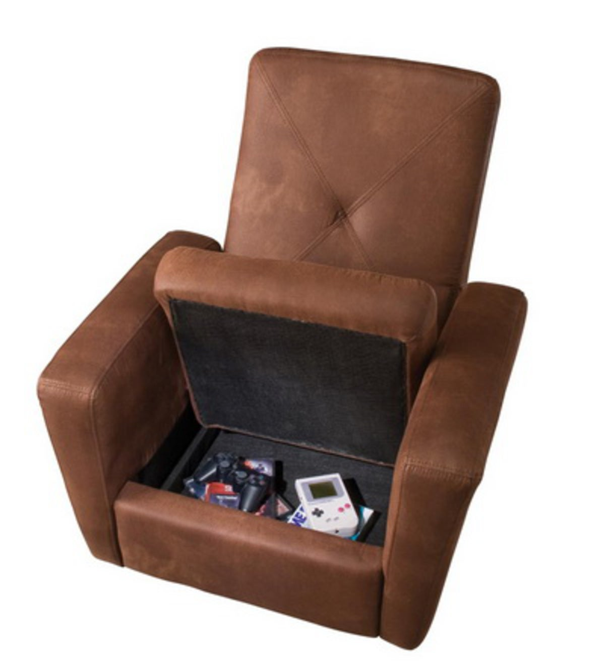 Chocolate Microfiber Gaming Chair Ottoman With Hidden