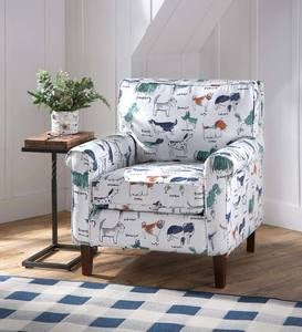 Going To The Dogs Upholstered Dog Print Arm Chair