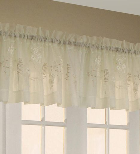 Embroidered Hydrangea Sheer Insert Valance
