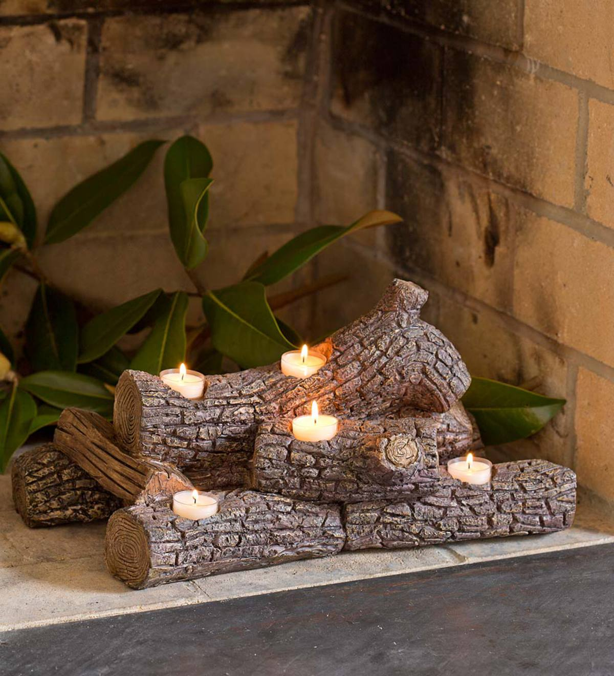 Logs Hearth Candle Holder Birch Plowhearth