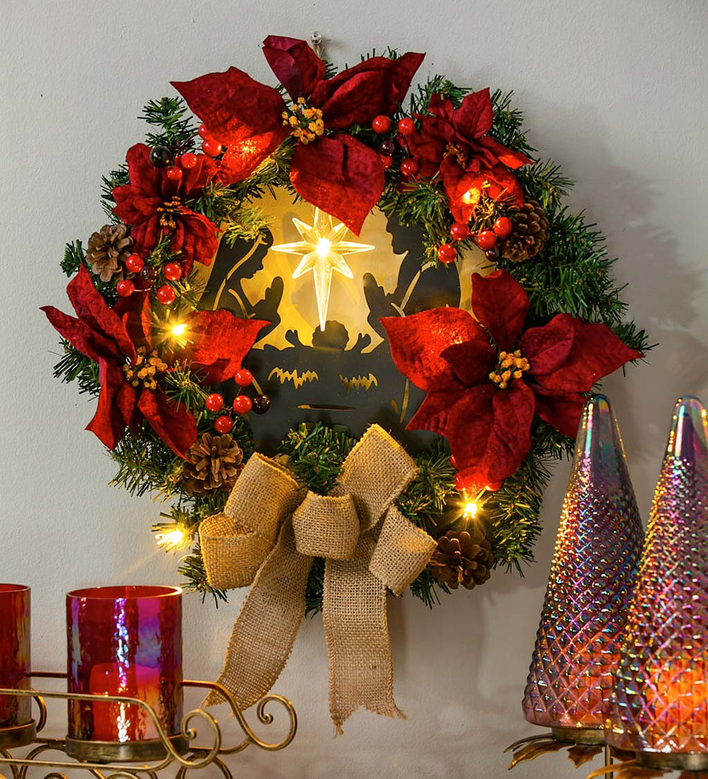 LED Christmas Nativity Poinsettia Wreath