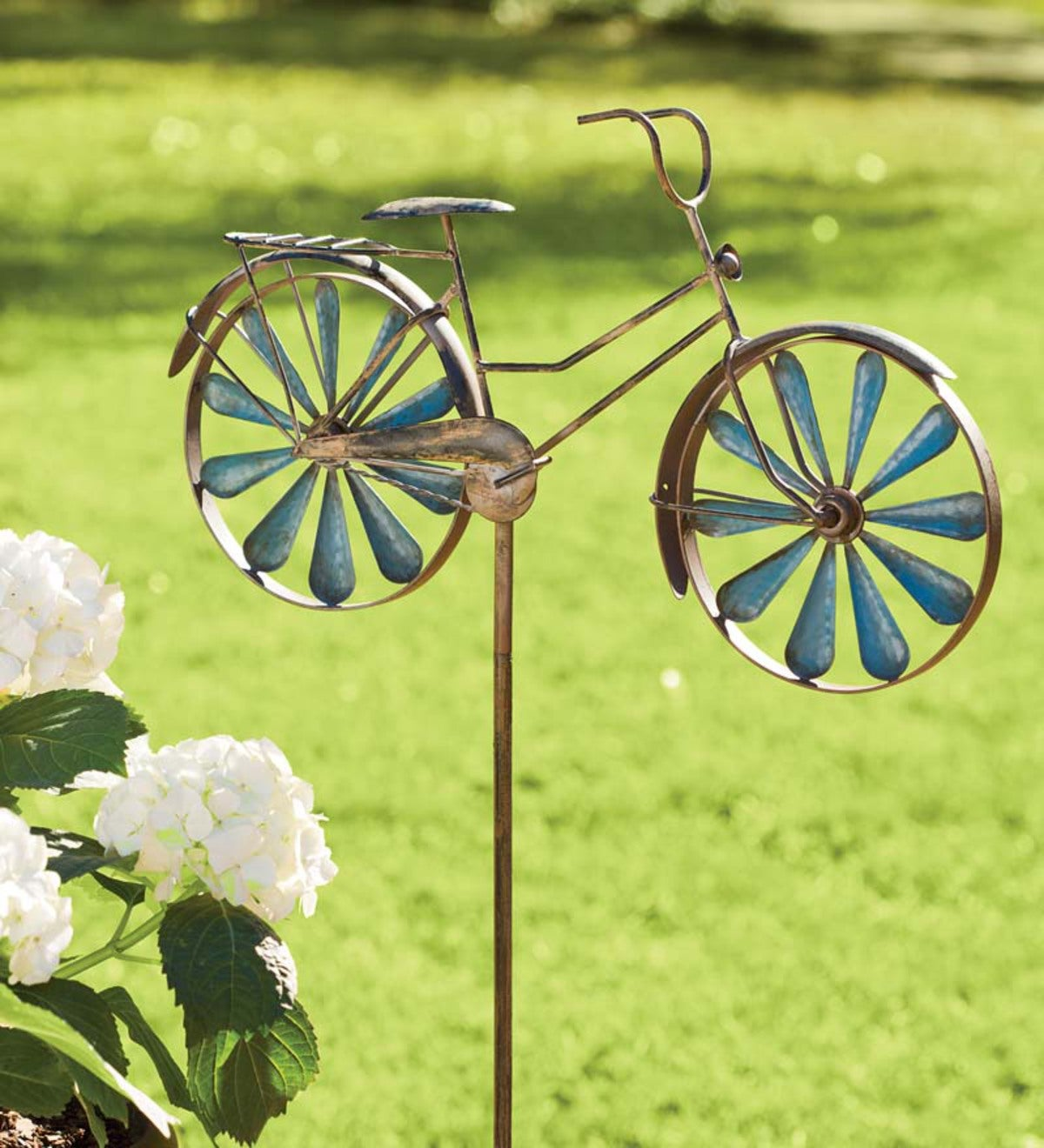 Metal Bicycle Wind Spinner Garden Stake Blue Plowhearth