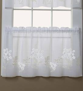 Embroidered Hydrangea Sheer Curtain Panels, Tiers, Valances And Swag
