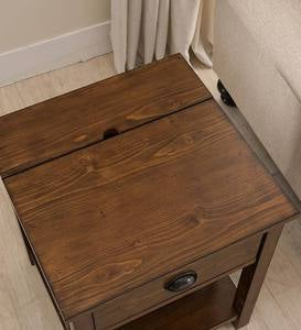 Arts and Crafts Mission Side Table with Charging Station - Oak