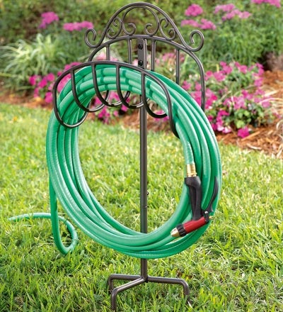 Wrought Iron Hose Holder with Ground Stake