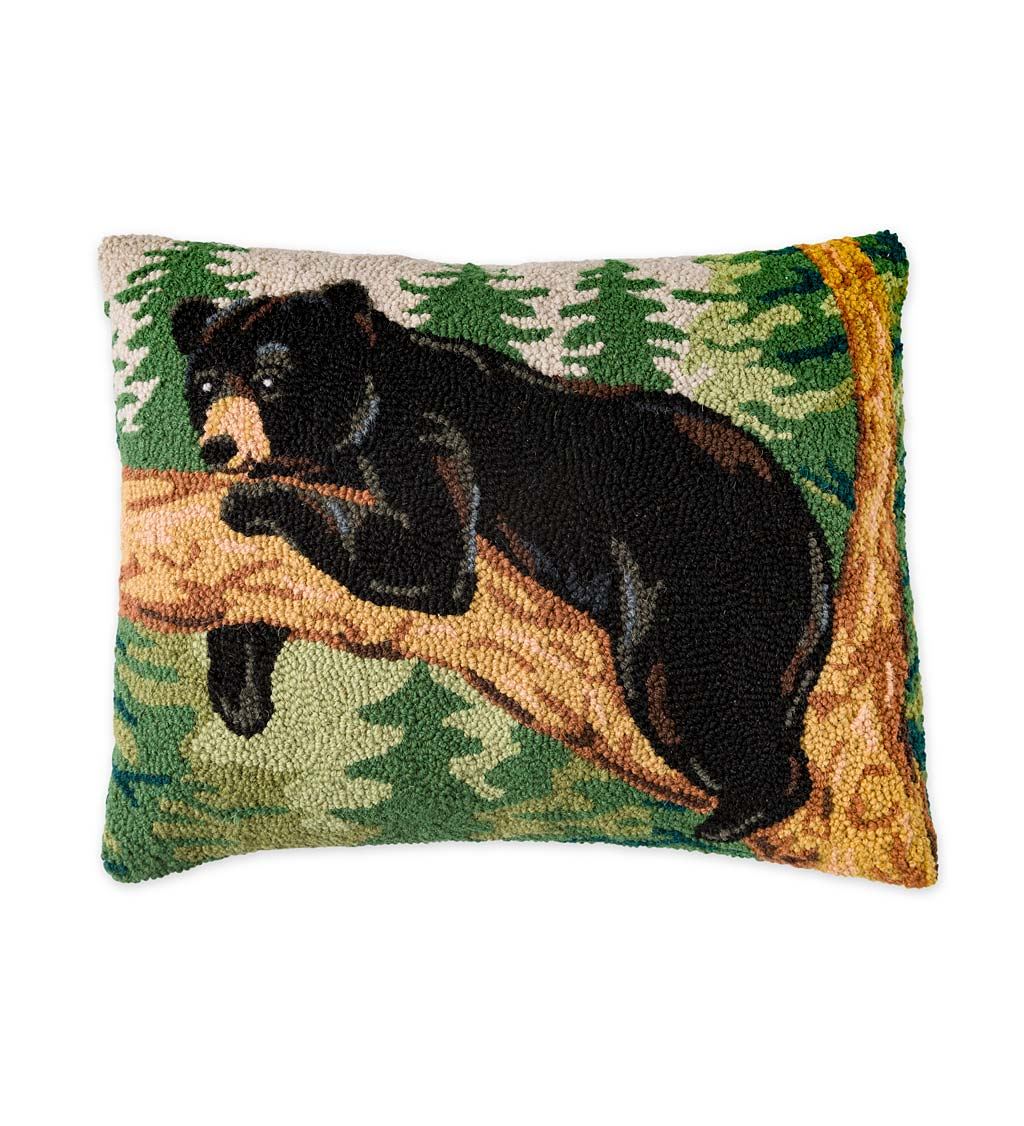 Hand-Hooked Wool Throw Pillow With Black Bear On Tree Limb
