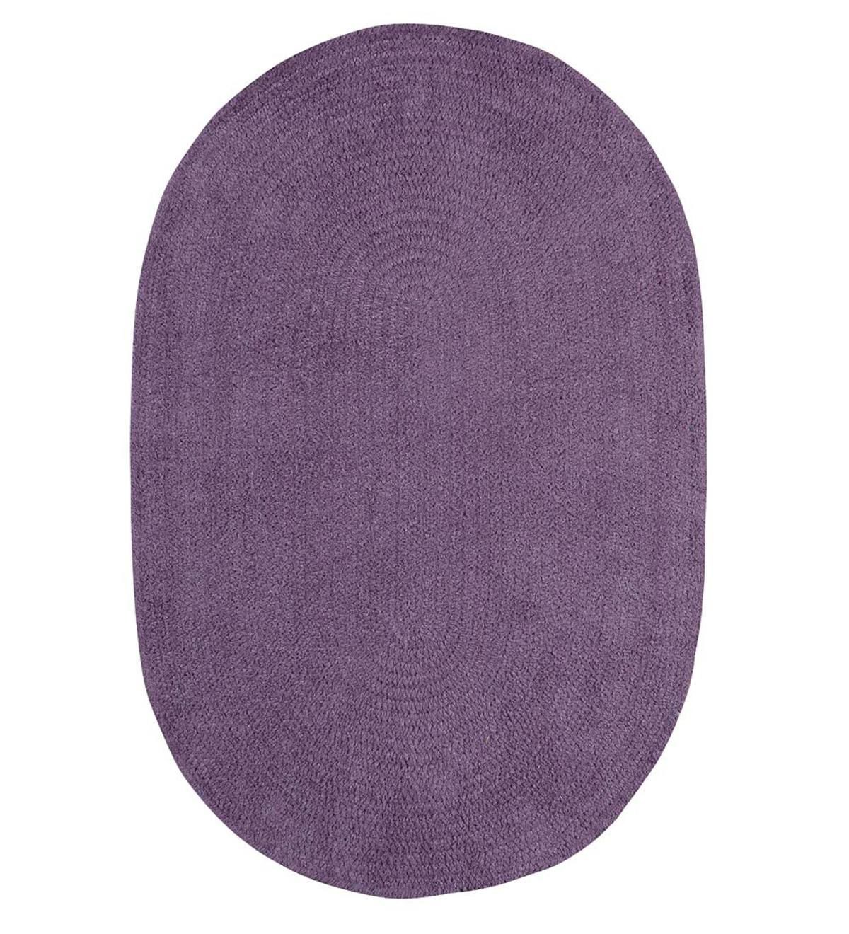 Chenille Oval Braided Area Rug, 5' x 8' - Wistful Purple