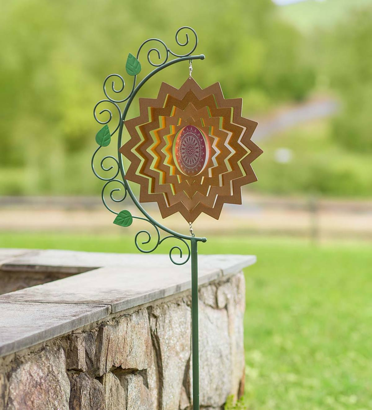 Metal Spectrum Wind Spinner with Decorative Stand - Red