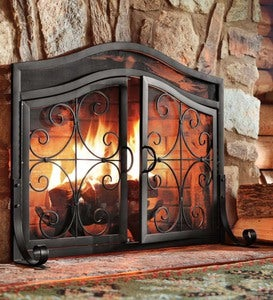 Crest Fireplace Screen With Doors