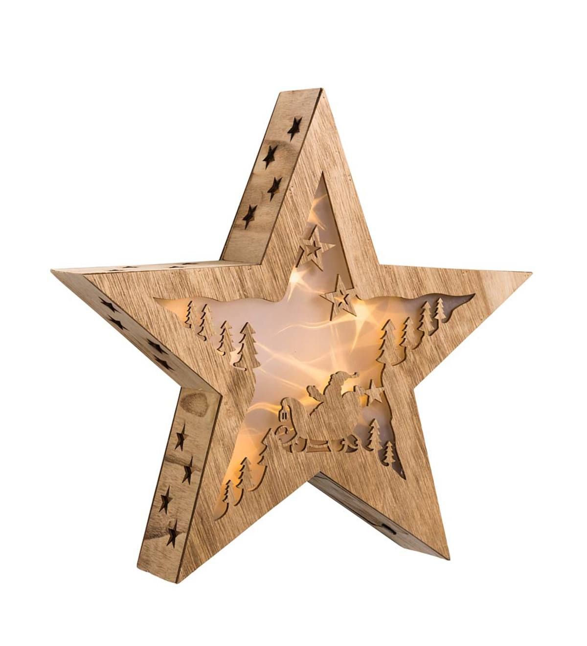 Wooden Star or Snowflake with Lighted Holographic Inset - Star