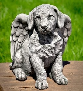 USA-Made Cast Stone Angel Puppy Garden Statue