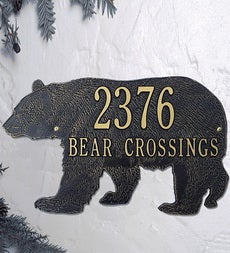 American-Made Bear Silhouette Address Plaque In Cast Aluminum