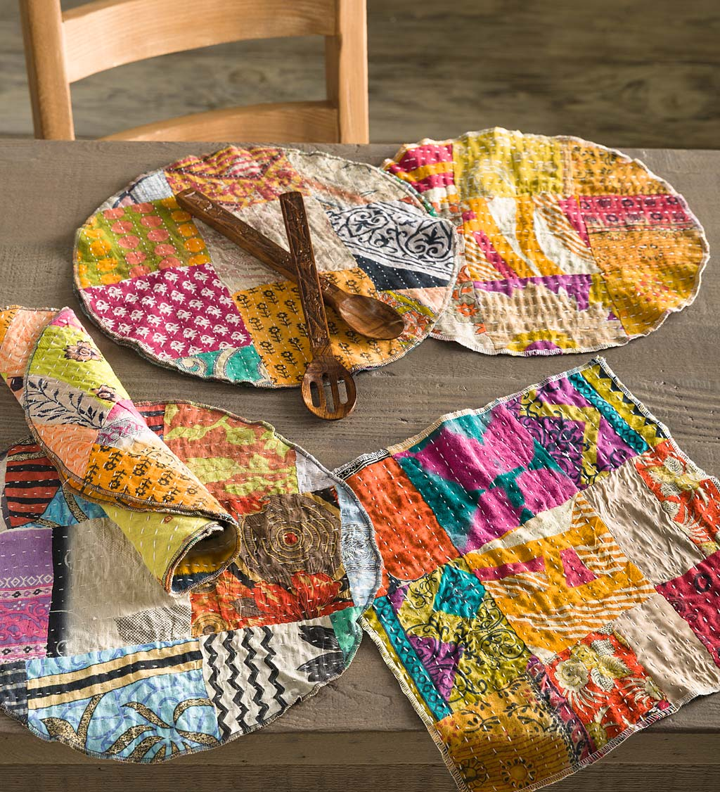 Round Upcycled Kantha Placemats Set of 6