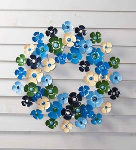 Blue Floral Metal Wreath