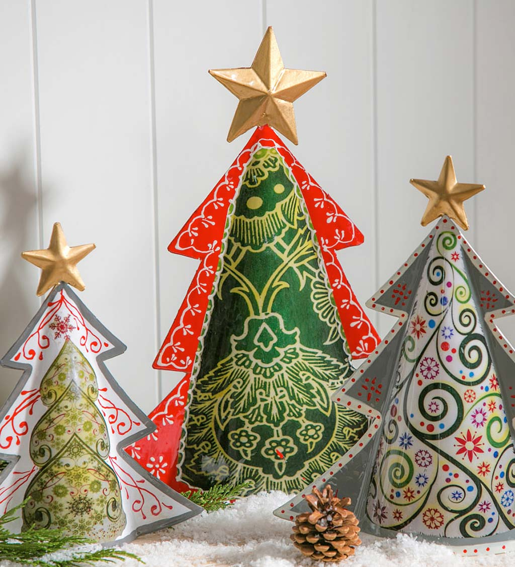Colorful Metal Patterned Christmas Trees, Set of 3