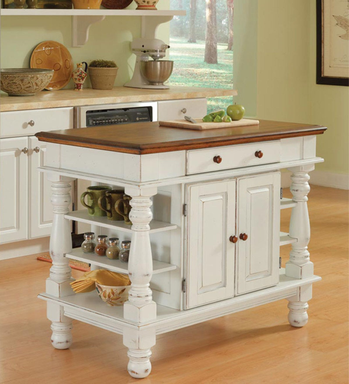 Country Style Kitchen Island In Antique White Finish ...