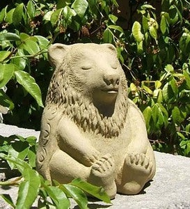USA-Made Cast Stone Meditating Bear