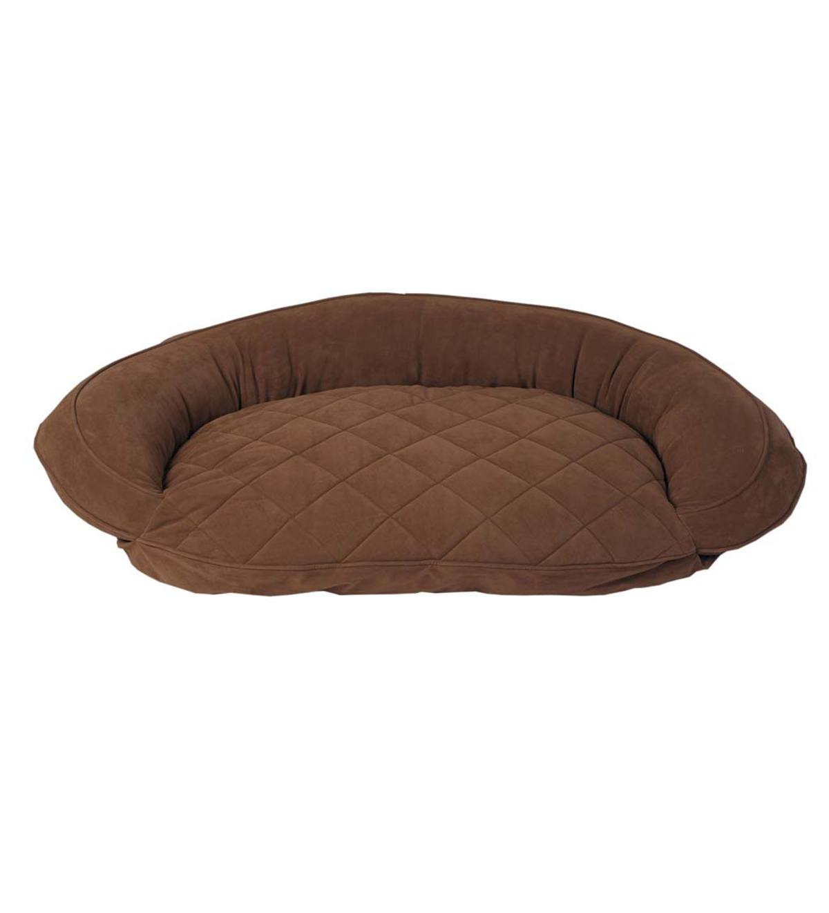 Microfiber Bolster Pet Bed, X-Large - Chocolate
