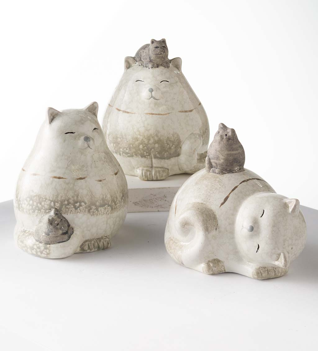 Terra Cotta Cats with Kittens Sculptures, Set of 3