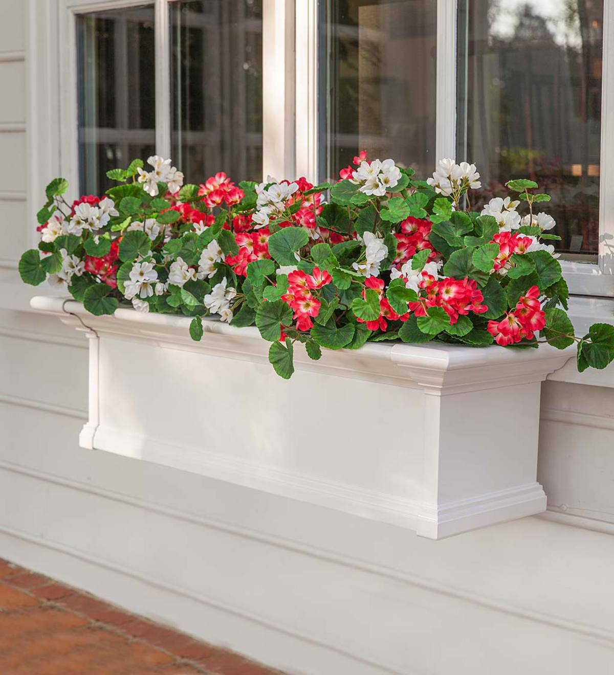 Everlasting Faux Red And White Geranium Window Box Filler Deck