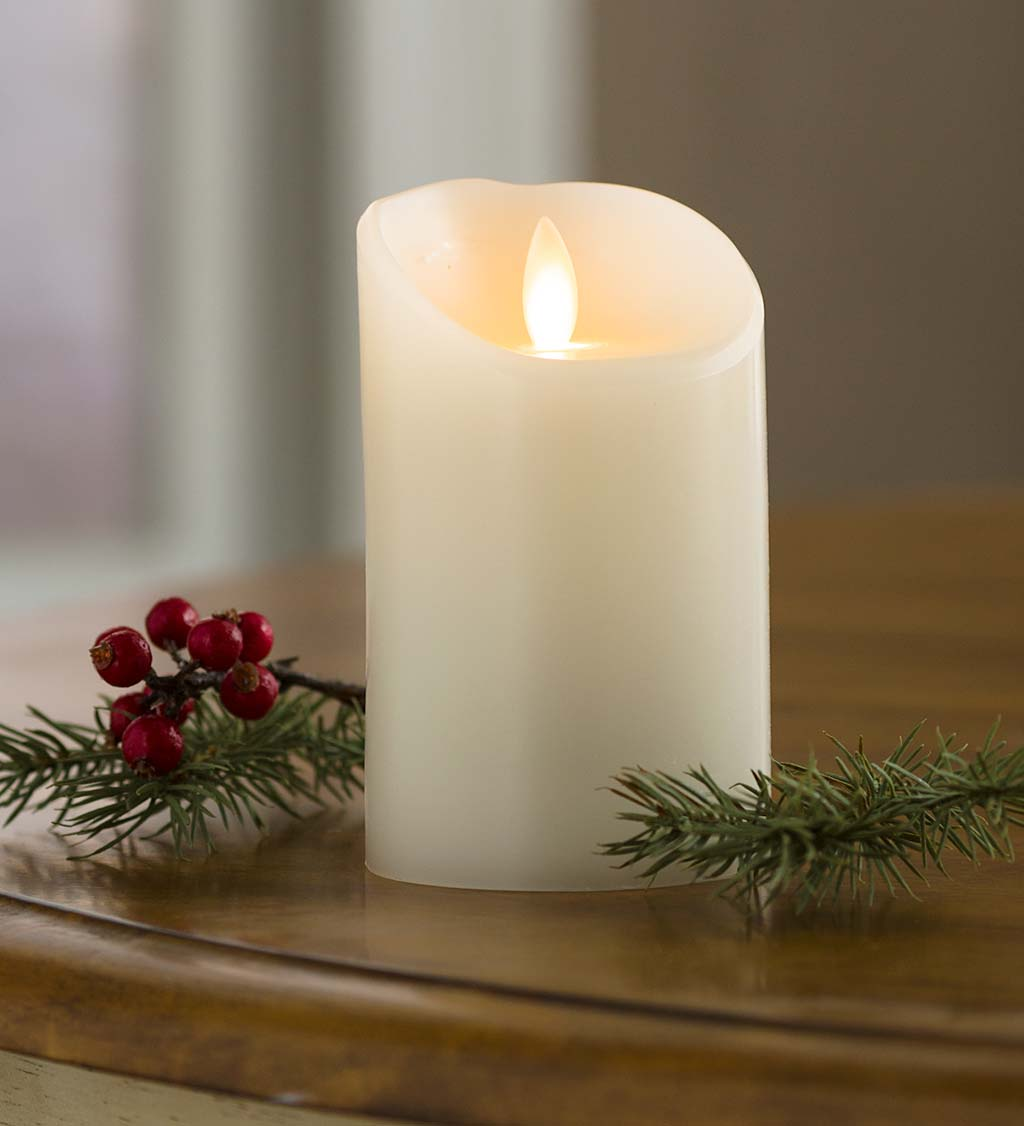 "LED Pillar Candle with Flicker Flame and Auto-Timer, 5""H"