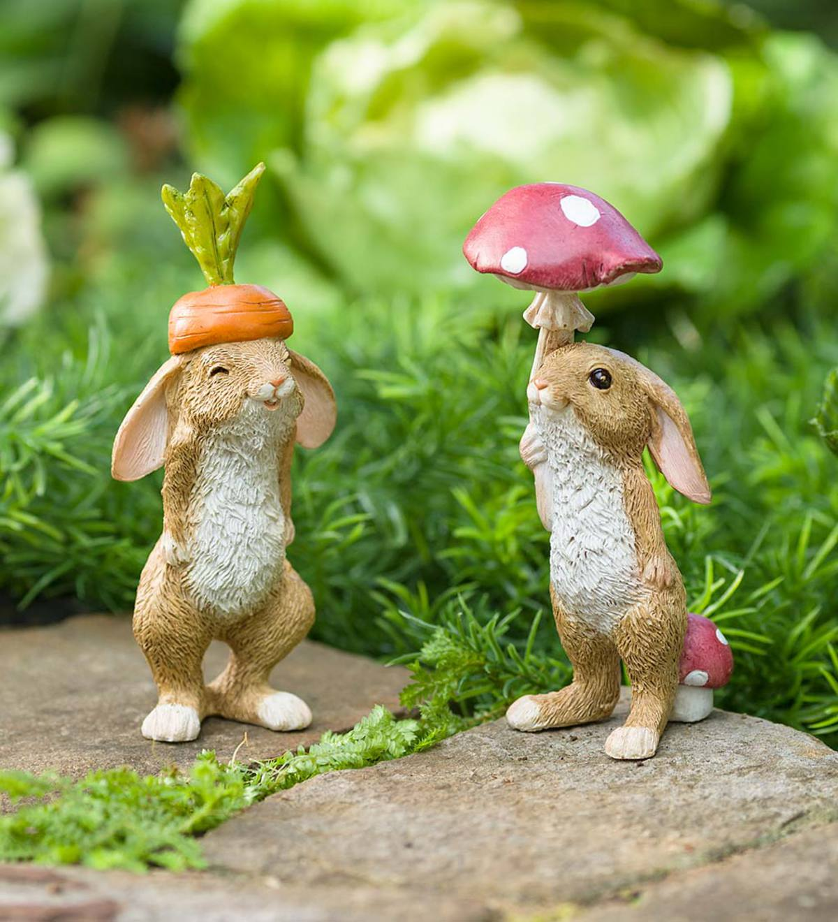 Veggie Rabbit Garden Figures, Set of 2