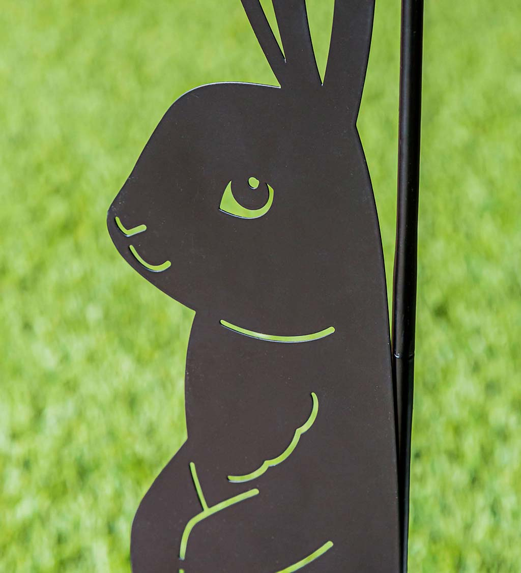Laser Cut Bunny Rabbit Garden Flag Stand
