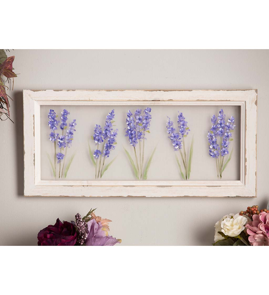 Hand-Painted Lilacs Screen Wood Frame Wall Décor