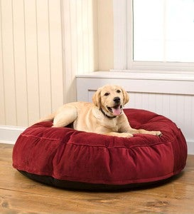 Round Tufted Plush Velvet Pet Bed