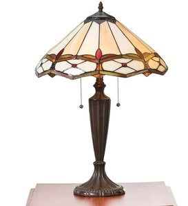 Handmade Stained Glass Gold and Ruby Diamond Table Lamp