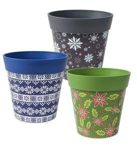 Holiday Hum Pot Colorful Plastic Plant Pots, Set of 2