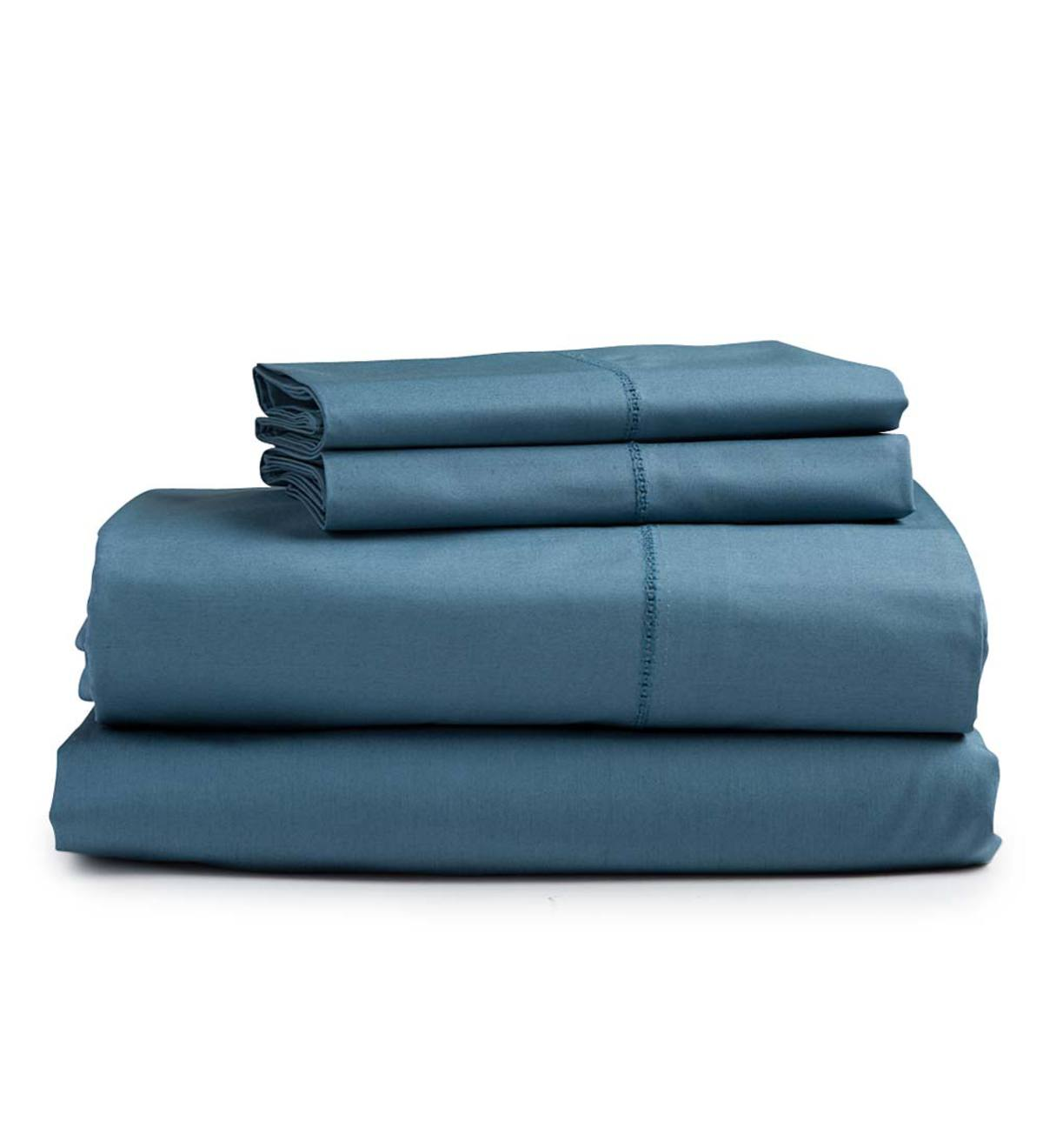 Twin Signature Cotton Percale Sheet Set - Blue Spruce