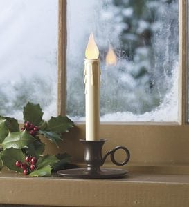 Battery-Operated Cordless Classic Candlestick With Auto Timer
