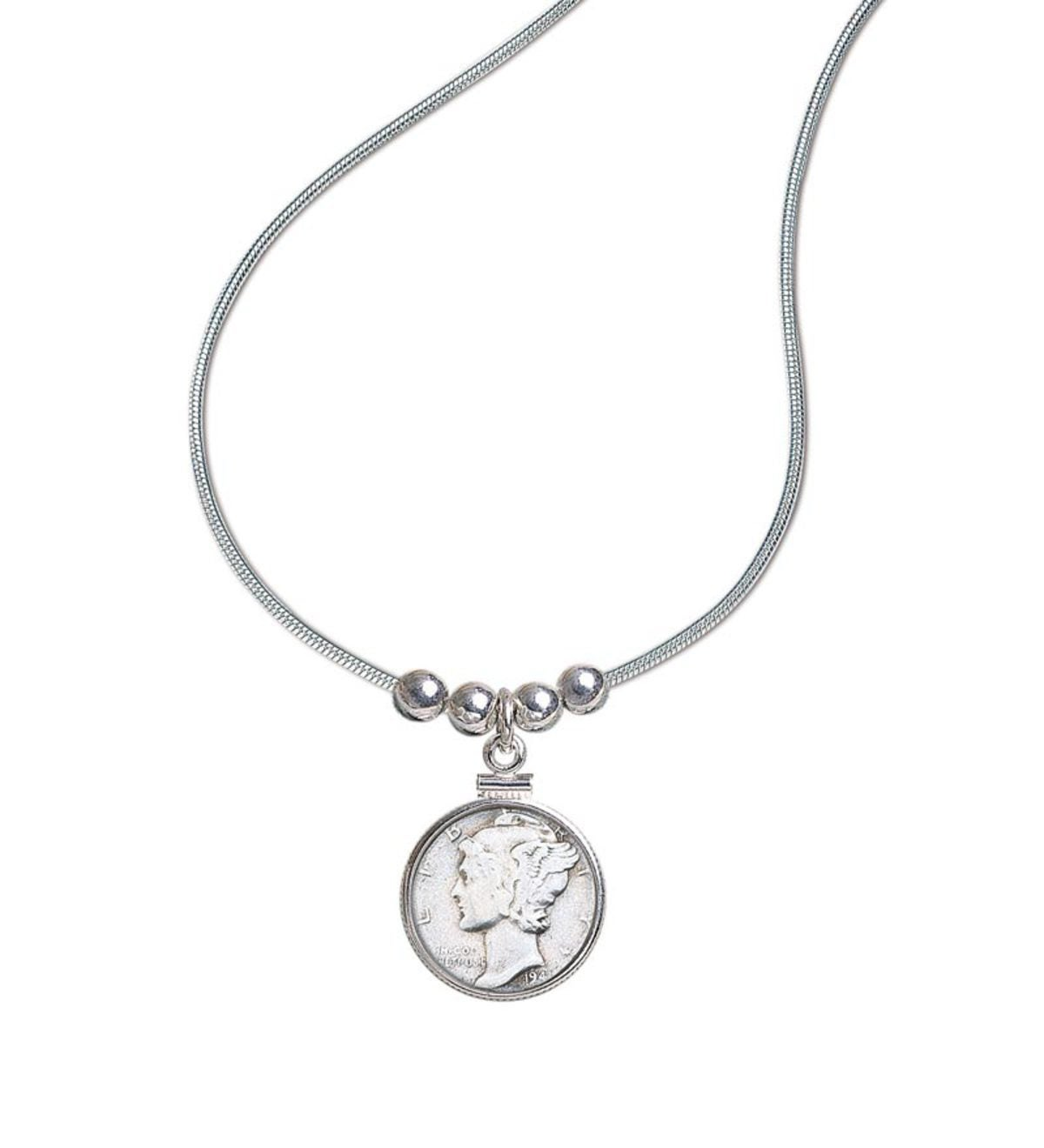 "US Minted Mercury Dime Pendant With 18""Sterling Silver Chain"