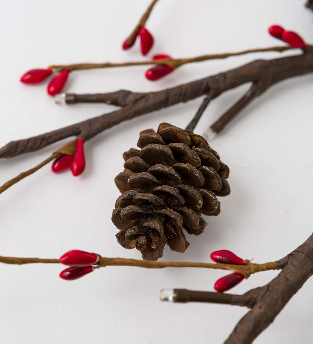 Lighted Branches With Natural Pine Cones and Faux Red Berries