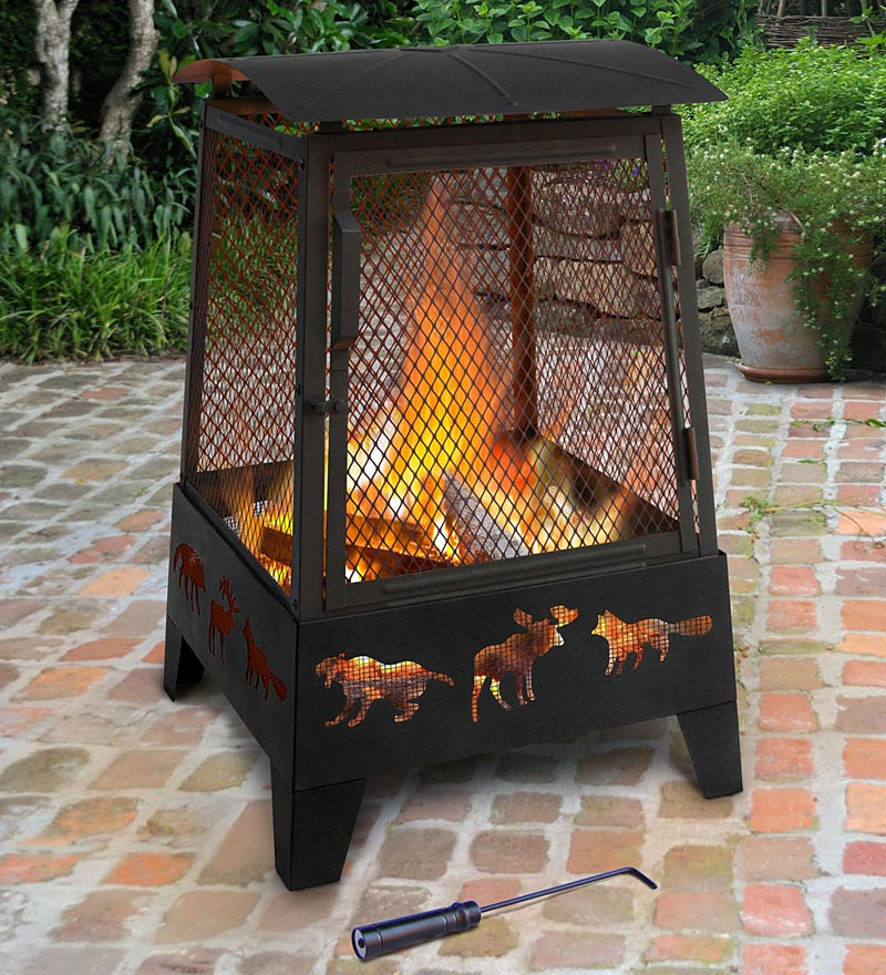 Wood-Burning Pagoda-Style Wildlife Fire Pit - Black