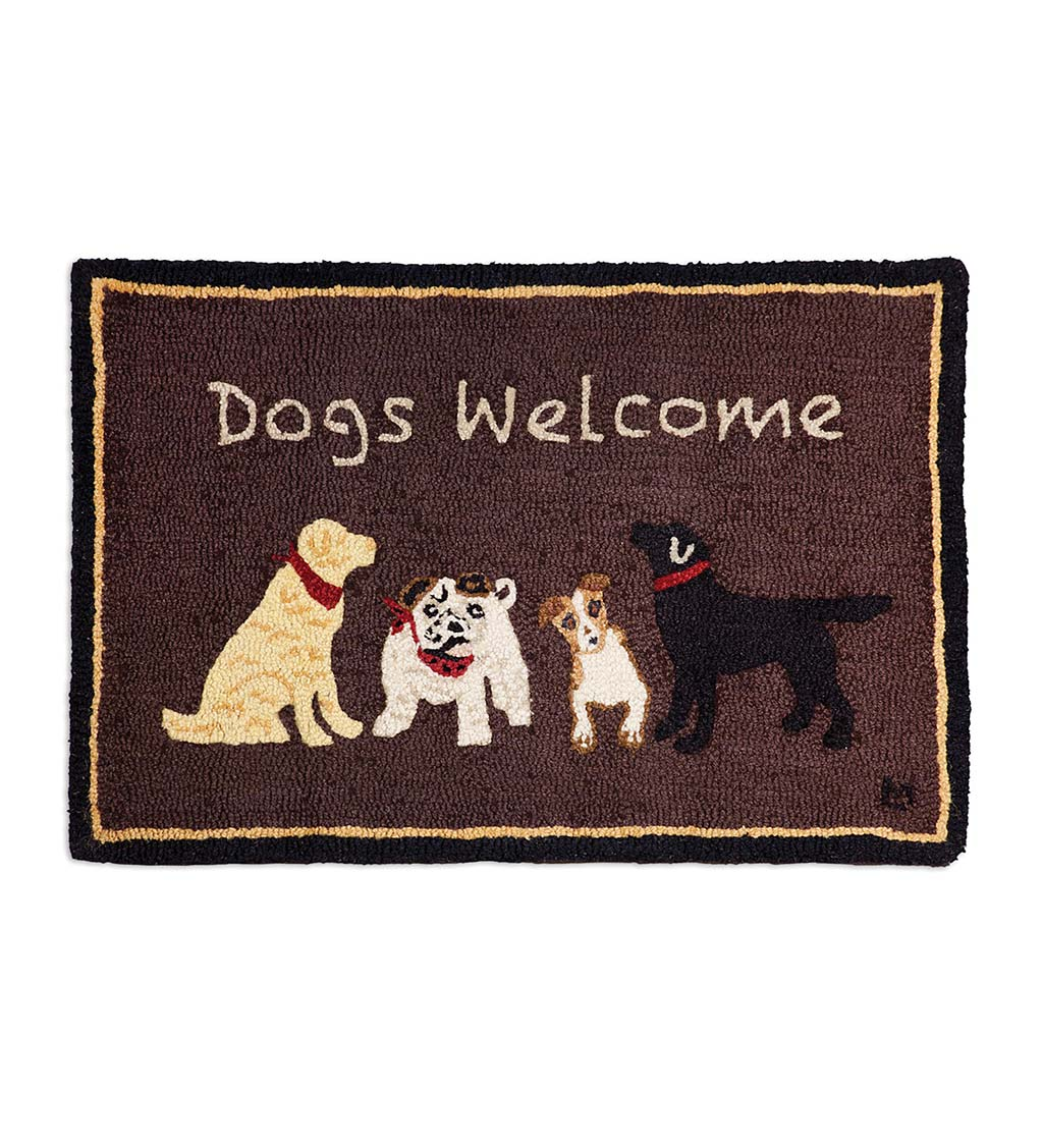 Hooked Wool Dogs Welcome Accent Rug - Brown